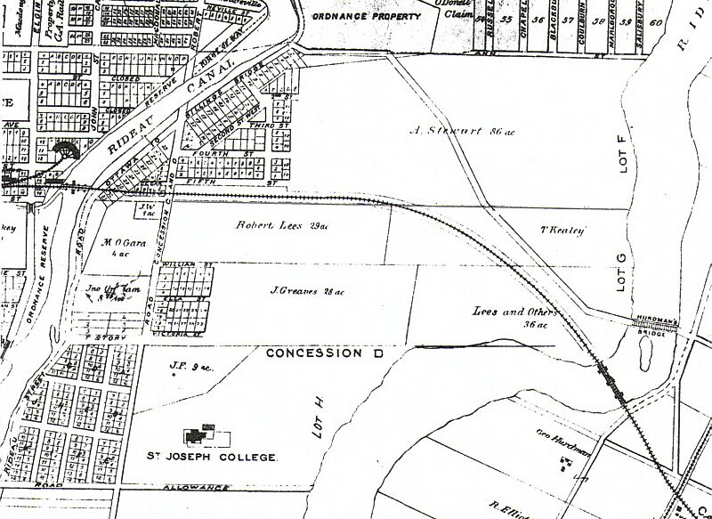 This is a black and white photo of a map of Old Ottawa East.